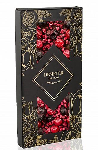 DemeterChocolate  Étcsokoládé málnával, piros és fekete ribizlivel
