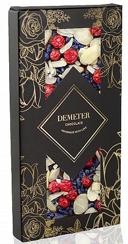 DemeterChocolate Étcsokoládé ibolyával, mandulával és pirosribizlivel