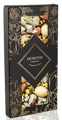 DemeterChocolate Étcsokoládé makadámdióval, mandulával és pisztáciával