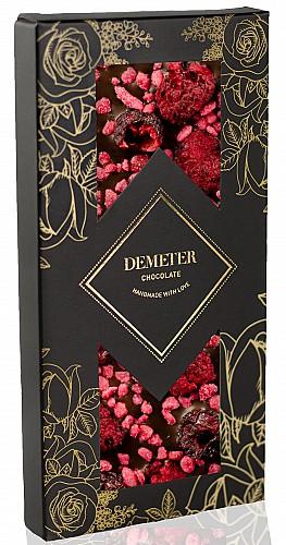 DemeterChocolate Étcsokoládé meggyel, málnával és rózsával