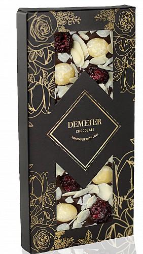 DemeterChocolate Étcsokoládé mandulával, makadámdióval és meggyel