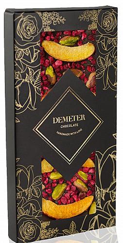 DemeterChocolate Étcsokoládé málnával, sárgabarackkal és pisztáciával