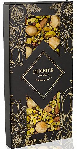 DemeterChocolate Étcsokoládé pisztáciával és piemonti mogyoróval
