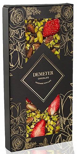 DemeterChocolate Étcsokoládé eperrel és pisztáciával