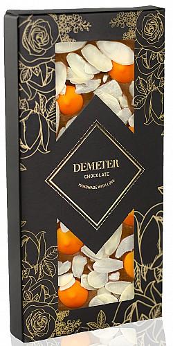 DemeterChocolate Tejcsokoládé mandulával és narancsos csokival