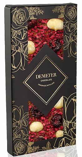 DemeterChocolate Tejcsokoládé meggyel, málnával és makadámdióval