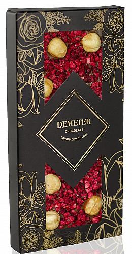 DemeterChocolate Tejcsokoládé piemonti mogyoróval és málnával