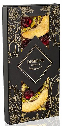 DemeterChocolate Tejcsokoládé sárgabarackkal, meggyel és pisztáciával