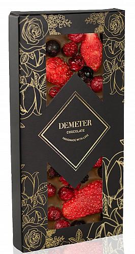 DemeterChocolate Tejcsokoládé eperrel, piros és fekete ribizlivel