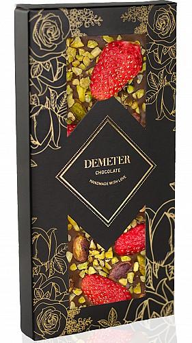 DemeterChocolate Tejcsokoládé eperrel és pisztáciával
