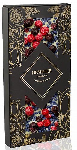 DemeterChocolate Fehércsokoládé ibolyával, piros és fekete ribizlivel