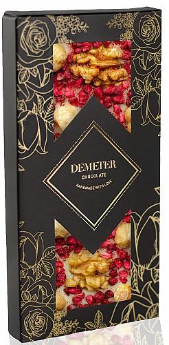 DemeterChocolate Fehércsokoládé dióval, málnával és mogyoróval