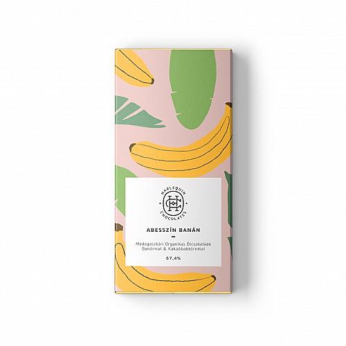 """Harlequin csokoládé """"Abesszín Banán"""" madagaszkári étcsokoládé banánnal és kakaóbabtörettel"""