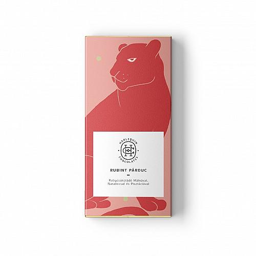 """Harlequin """"Rubint Párduc"""" rubycsokoládé (40,3%) Málnával & Naranccsal & Pisztáciával"""